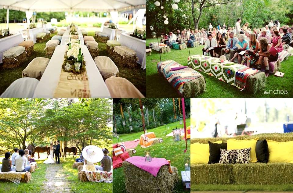 Country Wedding Idea: Hay Bale Seating - Jennifer Bergman Weddings