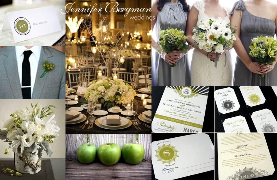 Grey and Green Wedding Inspiration Board - Jennifer Bergman Weddings
