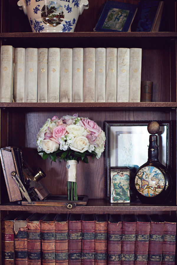 Bouquet in Vintage Bookshelf
