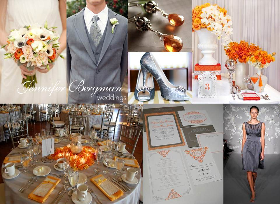 grey white and orange wedding