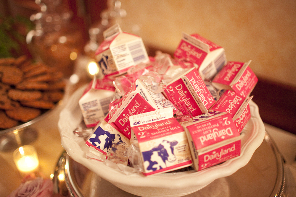 Milk Cartons at Wedding