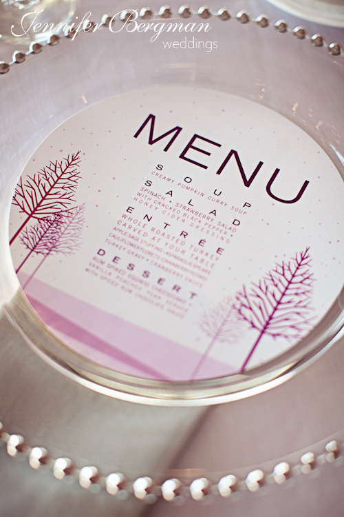 Menu in charger plates