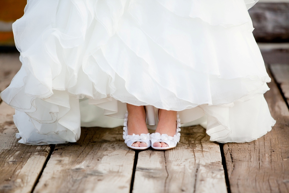 White Rosette Wedding Shoes