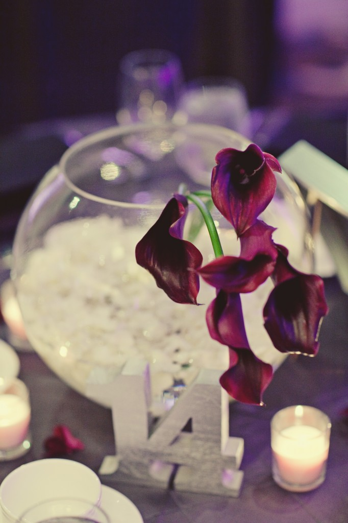 Purple calla centerpieces