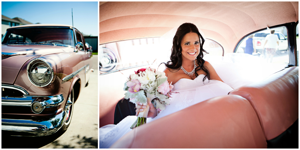 Bride in Vintage Car Edmonton