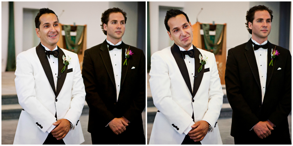 Groom's reaction to bride for first time