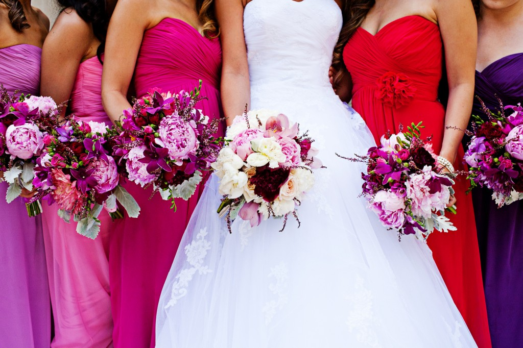 Pink and Purple Bridesmaid dresses