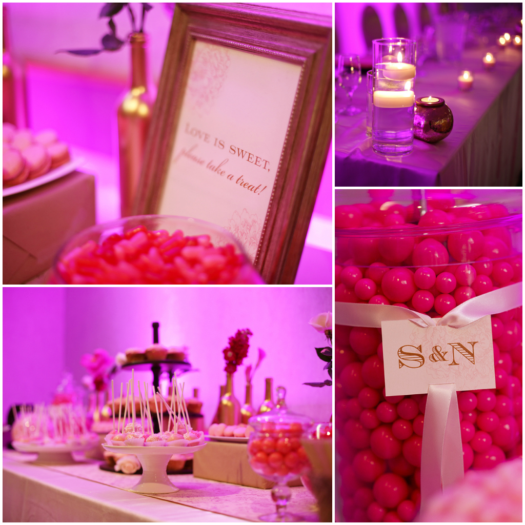 Pink and gold candy table wedding