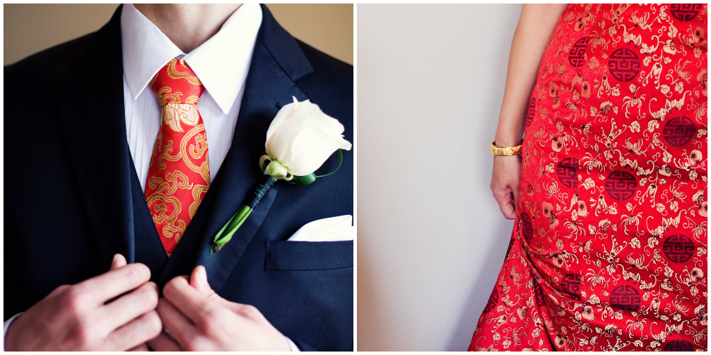 Chinese Red Tea Ceremony Dress, White Rose Boutonniere