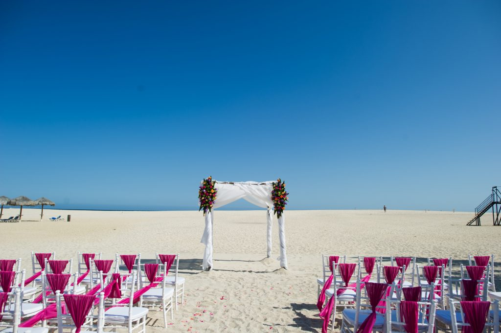 White Chiavari Chairs Pink Sashes