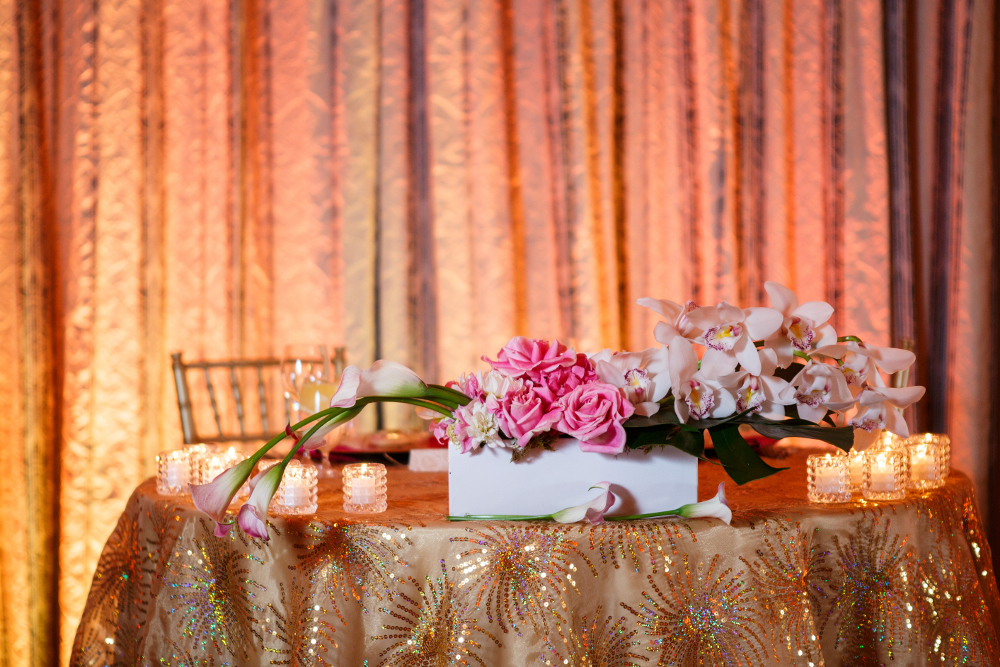 gold wedding uplighting