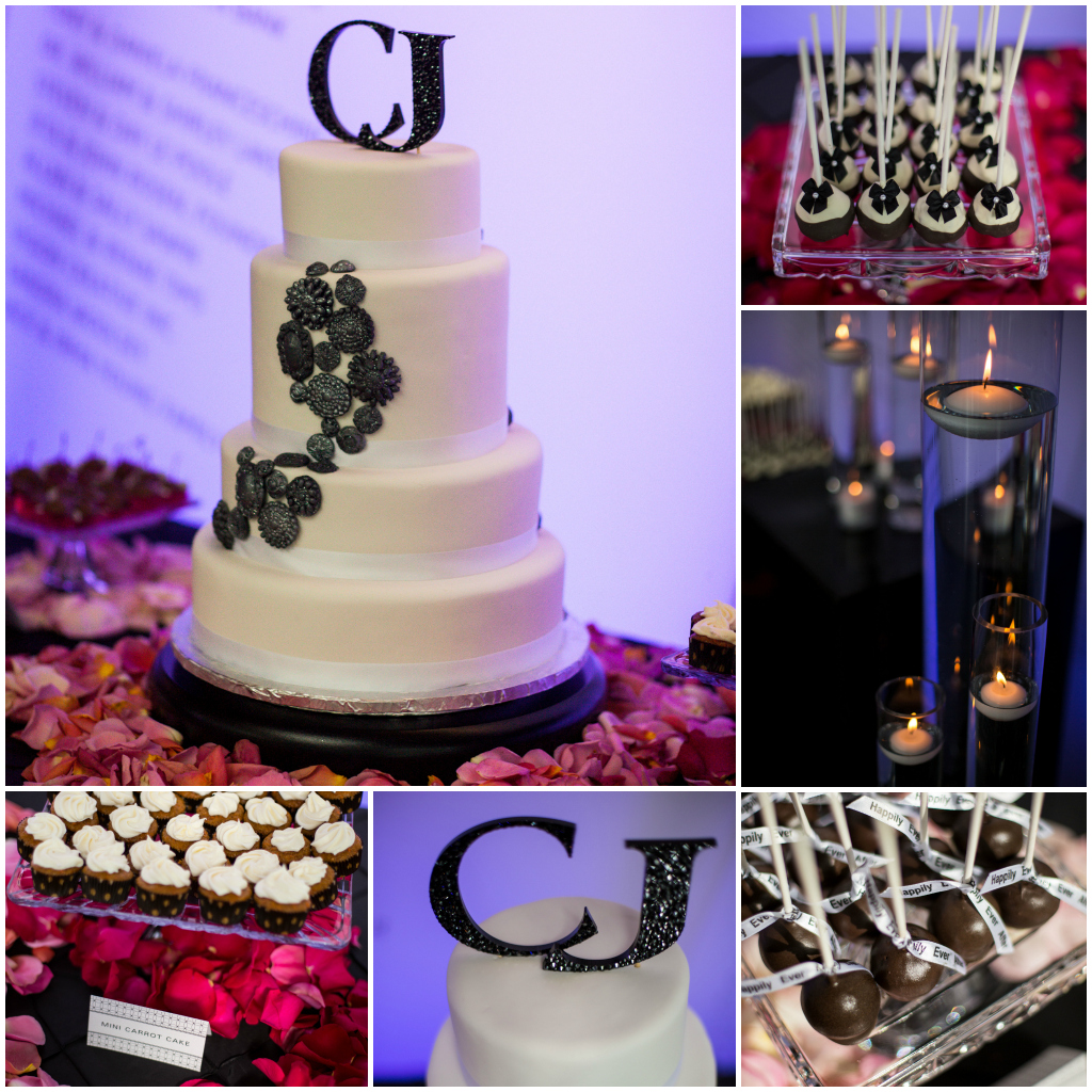Black and white cake, sweet table