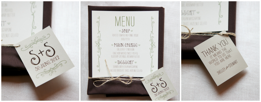 Green and Brown Wedding Stationary