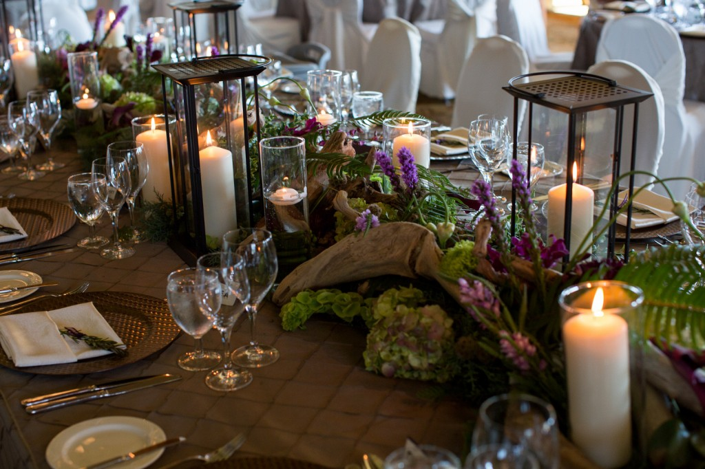 Candle Center Piece, Brown Pattern Table Cloth