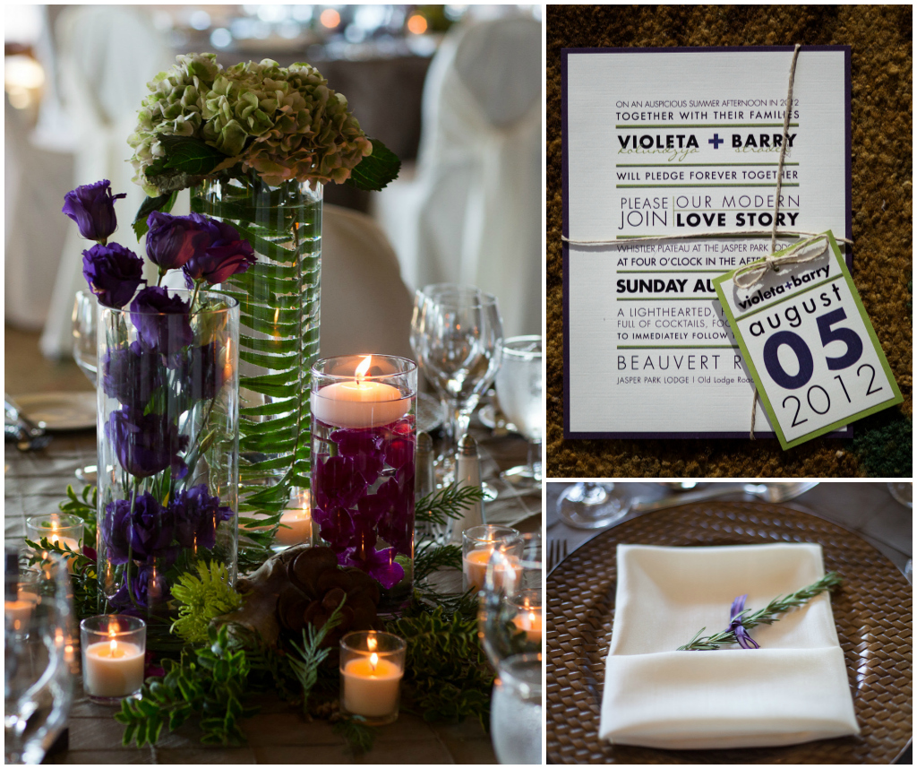 Green and Purple Invitation, Brown Table Setting