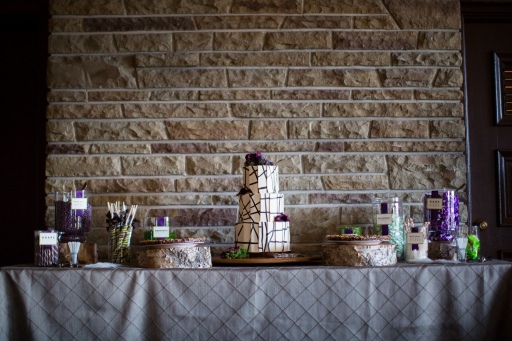Three Tiered Cake, Purple and Green Candy Table