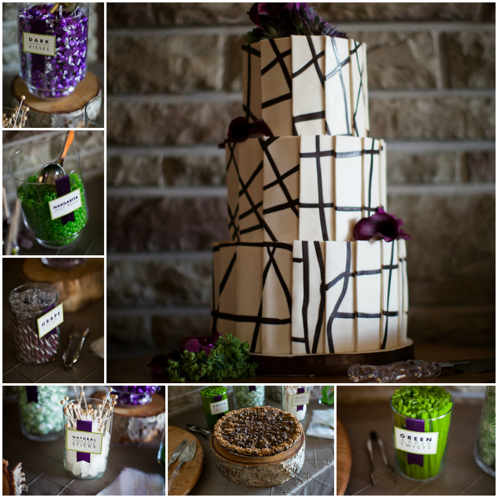 Green and Purple Candy Table, Candy in Jars