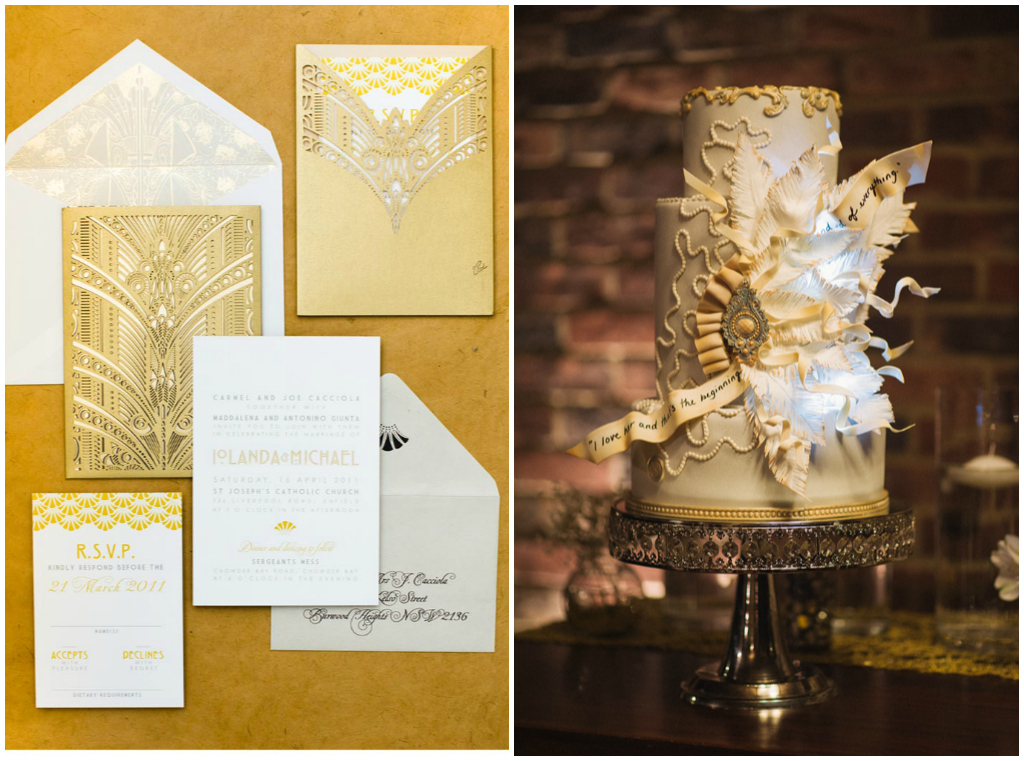 Gold Wedding Invitations, Gold Wedding Cake