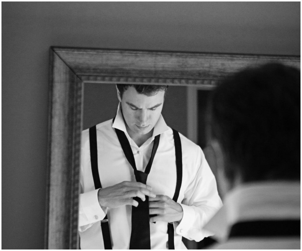 Groom Tying His Tie, Groom Mirror Picture