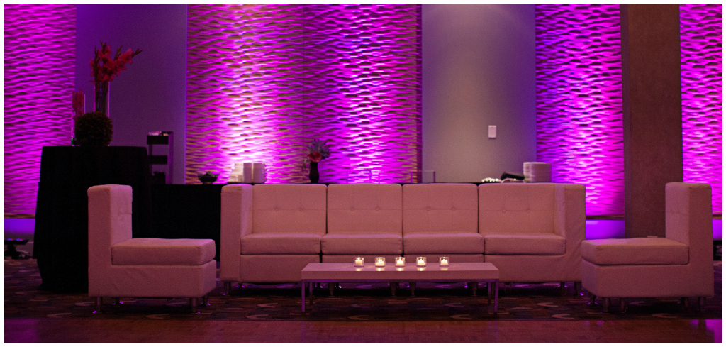 Pink and Purple Uplighting Wedding
