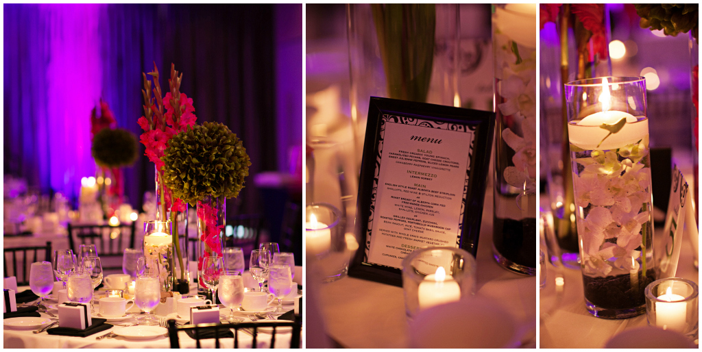 Mordern Edmonton Weddings, Pink and Green Centerpieces