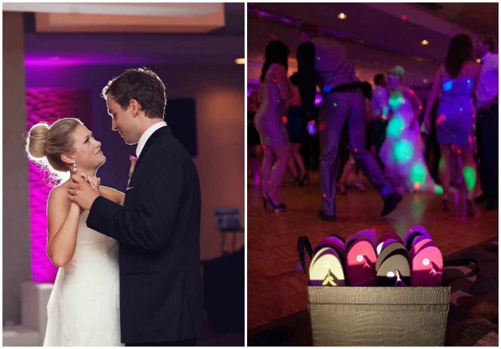 Bride and Groom First Dance, Matrix Hotel Edmonton Weddings, Sandals Wedding Favours