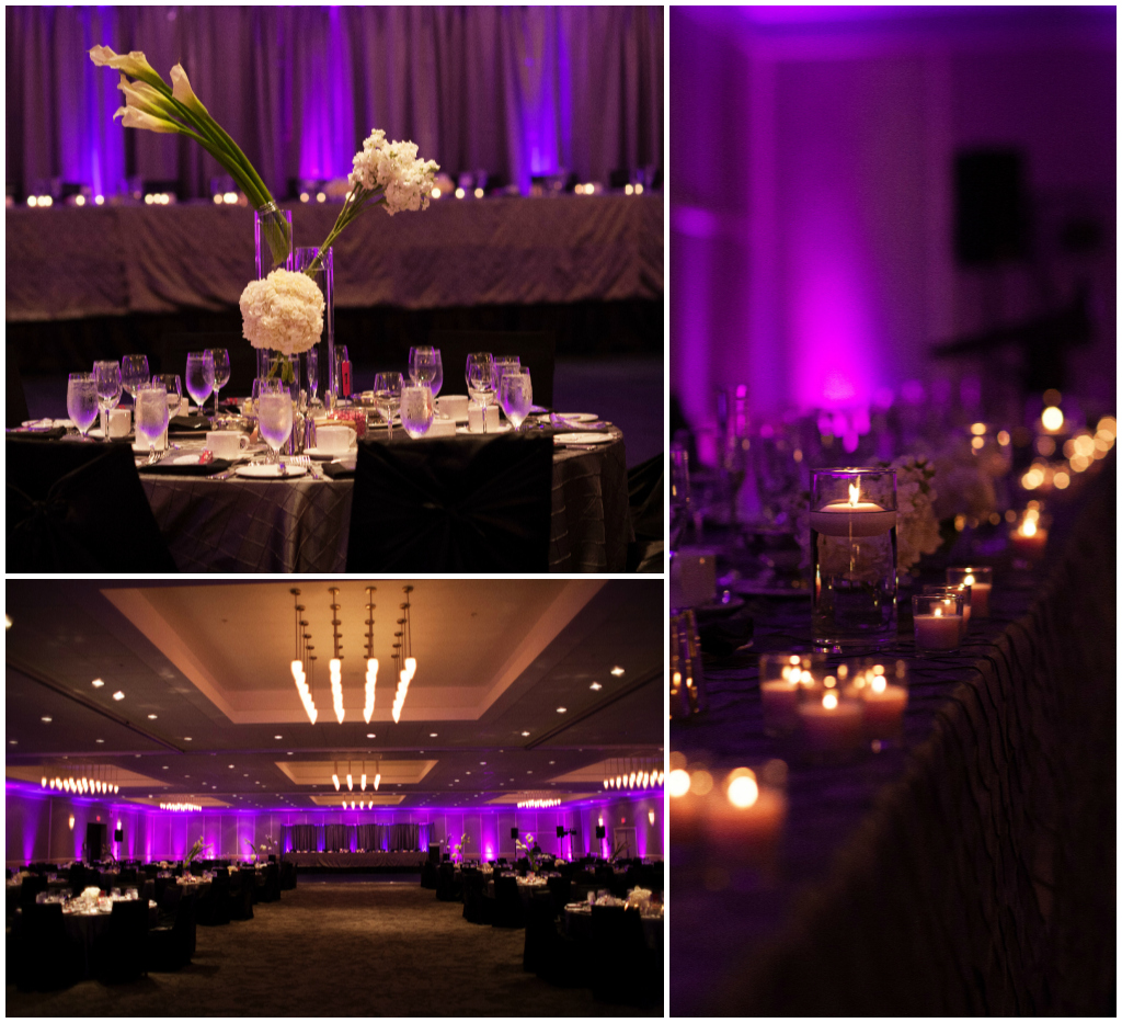 Purple and Pink Uplighting, Tall Layered Centerpieces