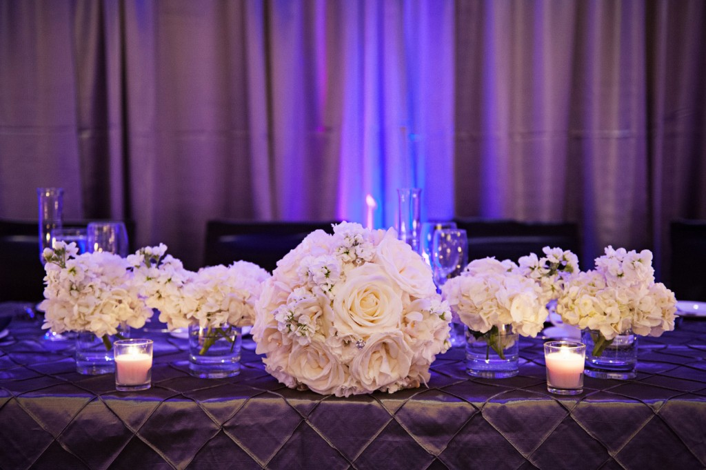 White and Pewter Wedding Tables