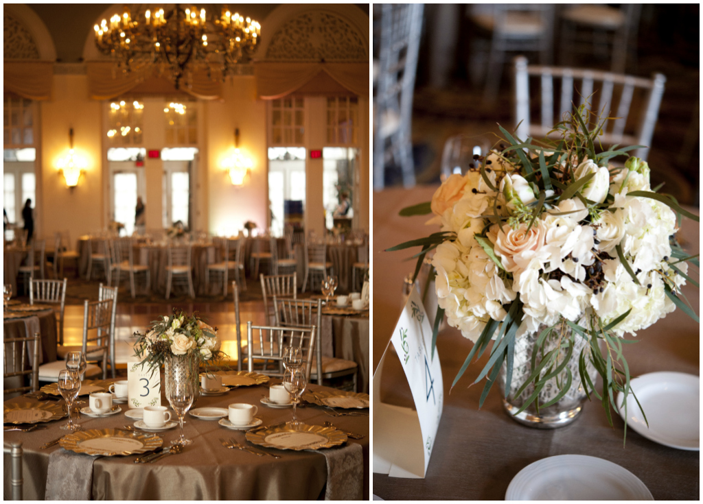 Neutral Color Centerpieces, Silver Chivari Chairs