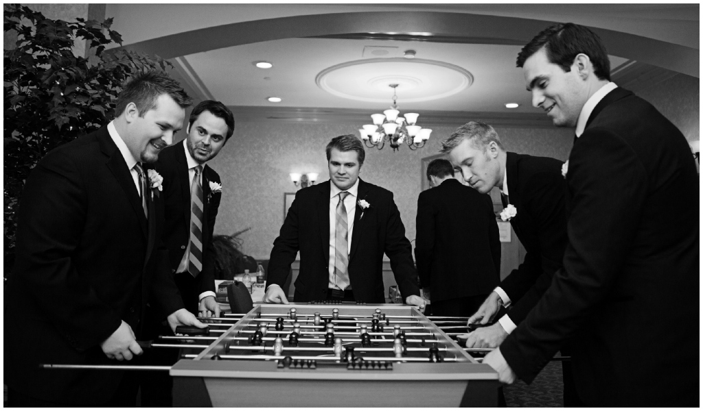 Fun Groomsmen Pictures, Groomsmen Playing Foosball