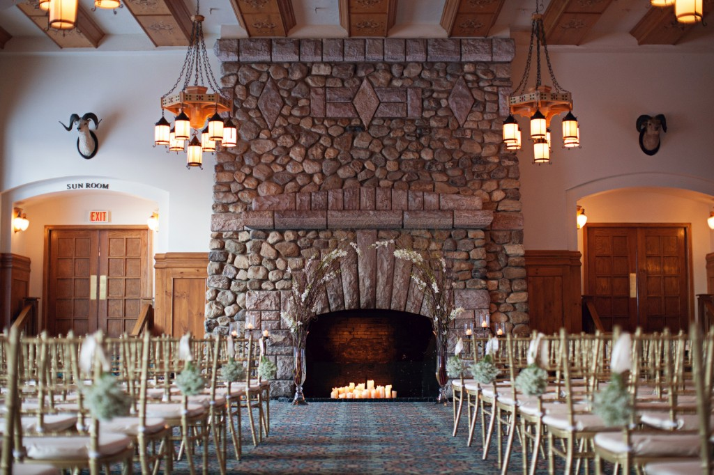 Lake Louise Wedding Ceremony Winter Decor