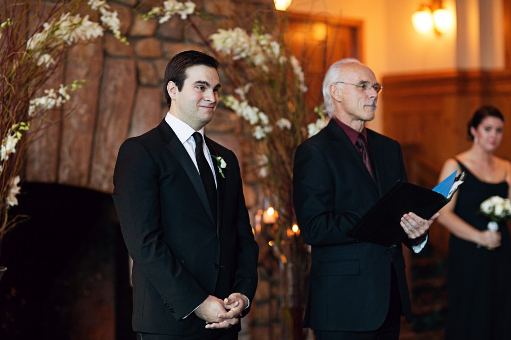 Groom with Officiant, Groom at the end of the Aisle
