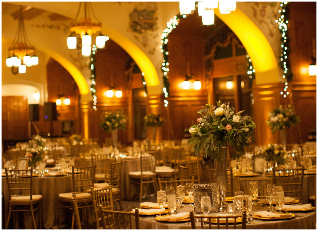 Gold Chiavari Chairs, Short and Tall Centrepieces