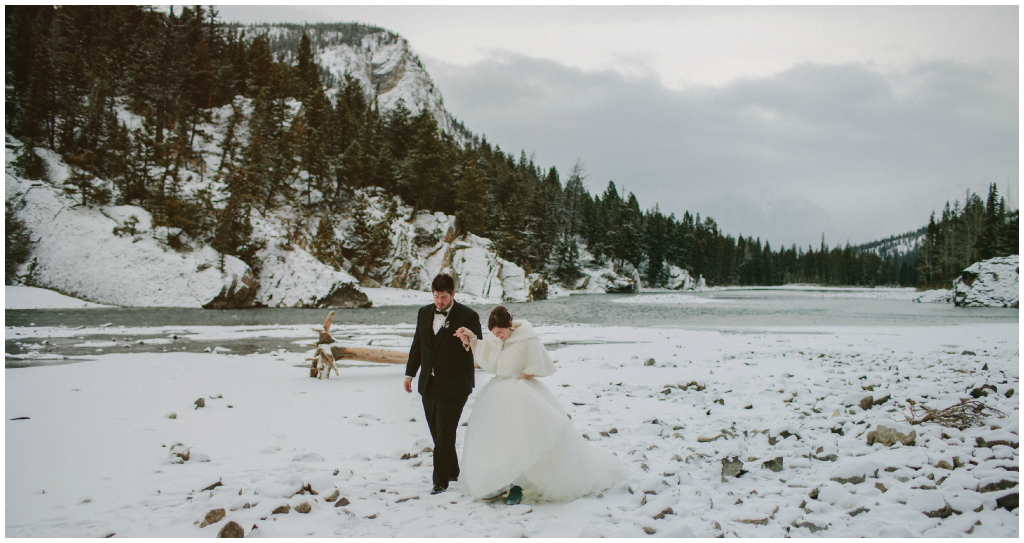 Banff winter wedding photos