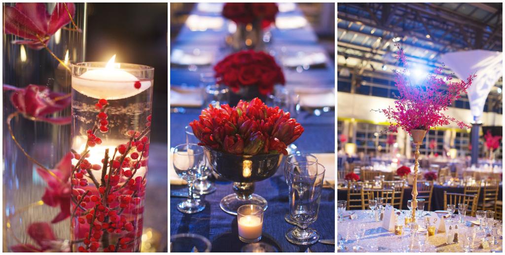 Modern Cranberry Floral Centrepieces