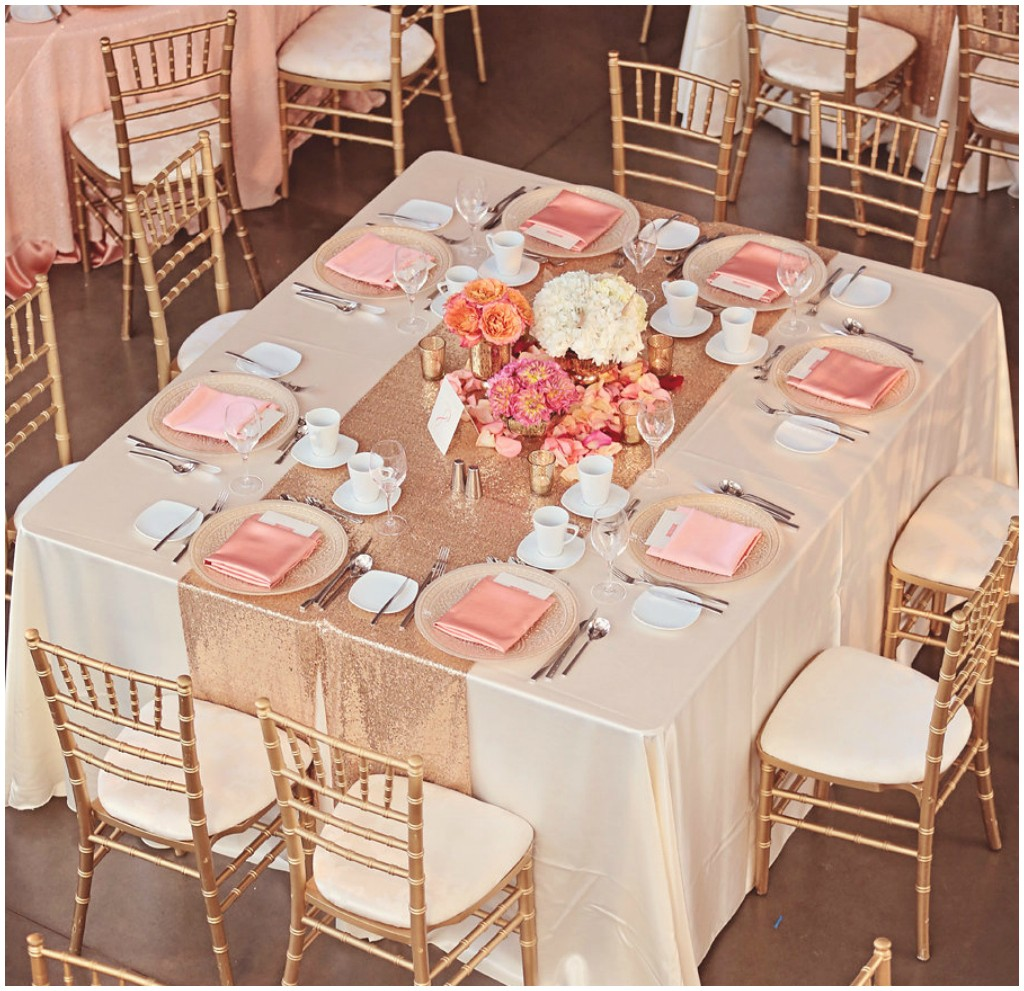 Gold and Peach Wedding Table, Special Event Rentals