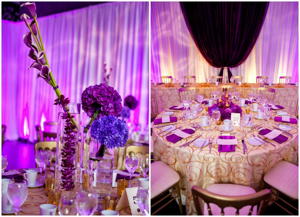 Special Event Rentals Edmonton, Purple and Gold Wedding