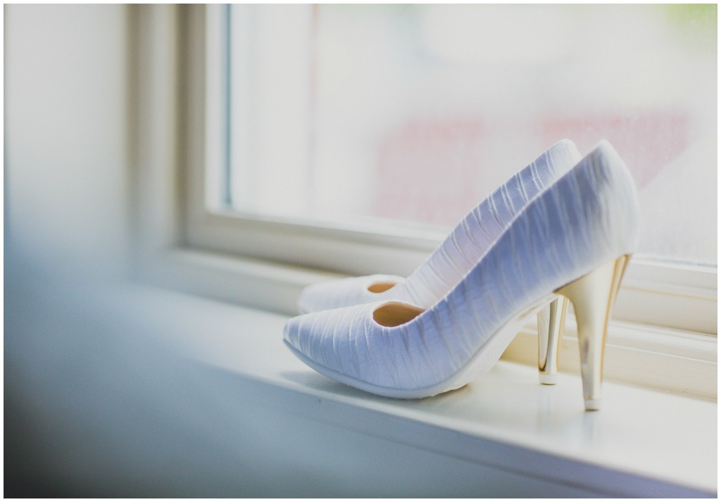 Classic Pleated White Bridal Shoe
