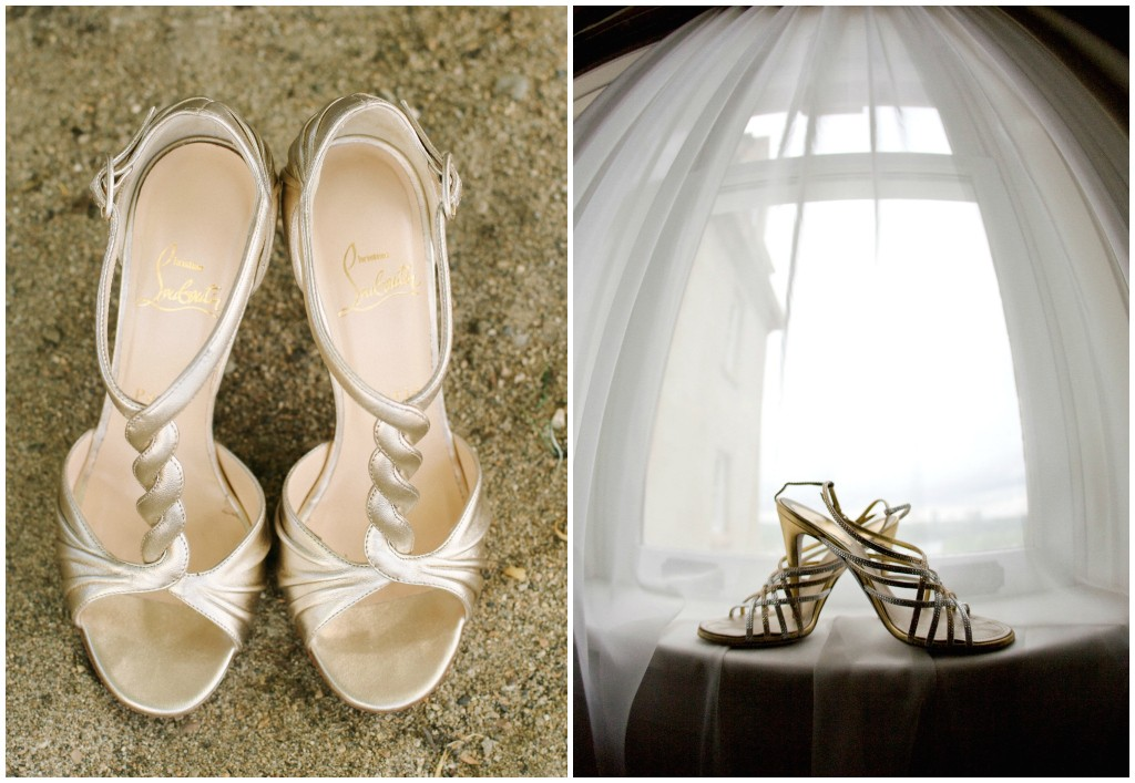 Gold Strappy Wedding Shoes