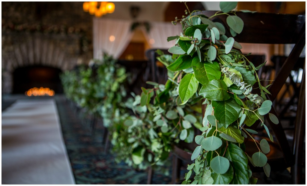 Rocky Mountain Wedding, Swagged Greenery down aisle