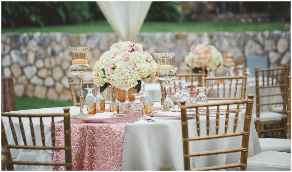 Blush and gold outdoor wedding