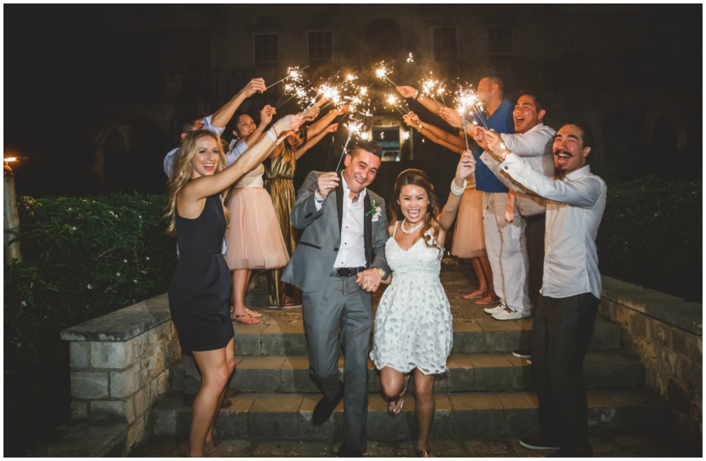 Sparkler wedding photo