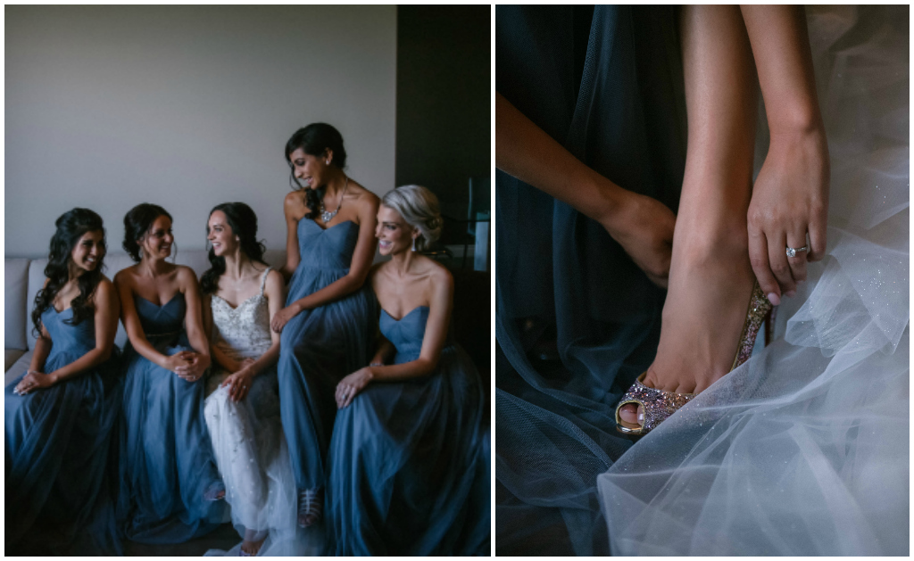 Subdued Blue Bridesmaids Gowns