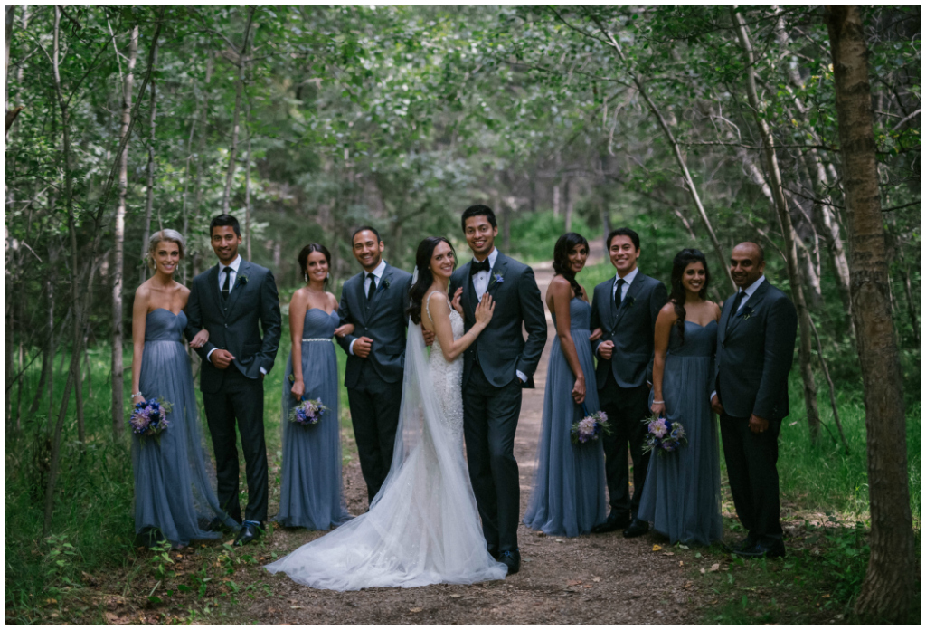 Dusty Blue Bridal Party Edmonton River Valley