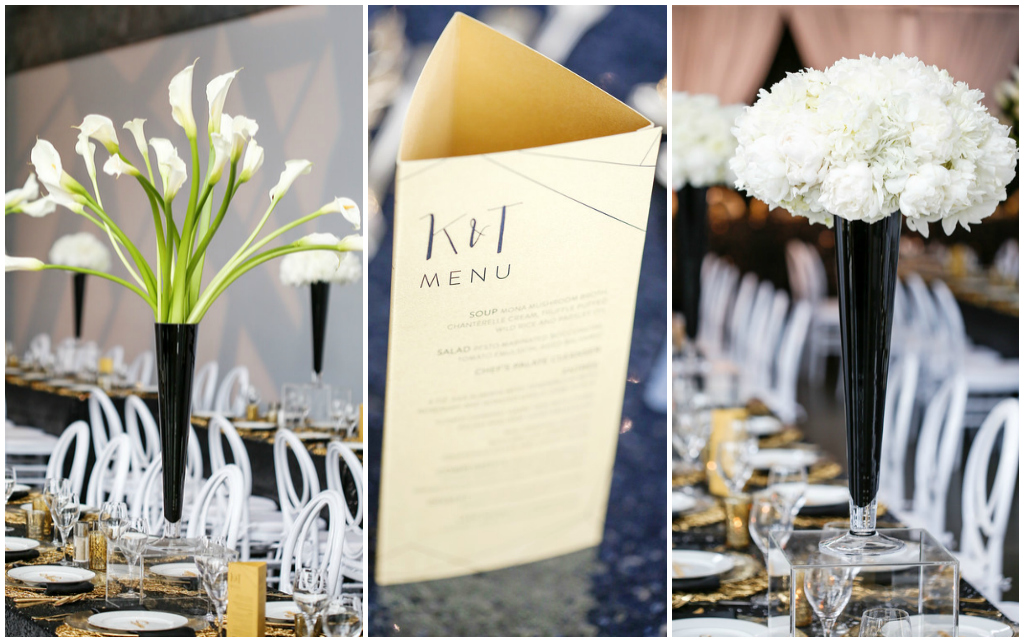Modern Wedding Details, Black White and Gold Wedding