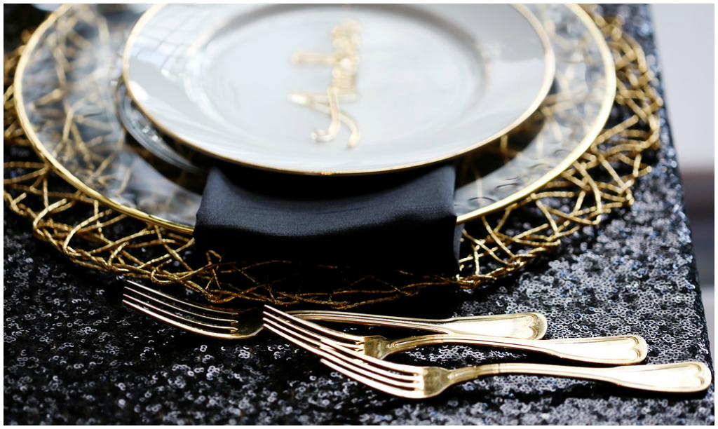 Modern Wedding Details, Gold Cutlery Wedding