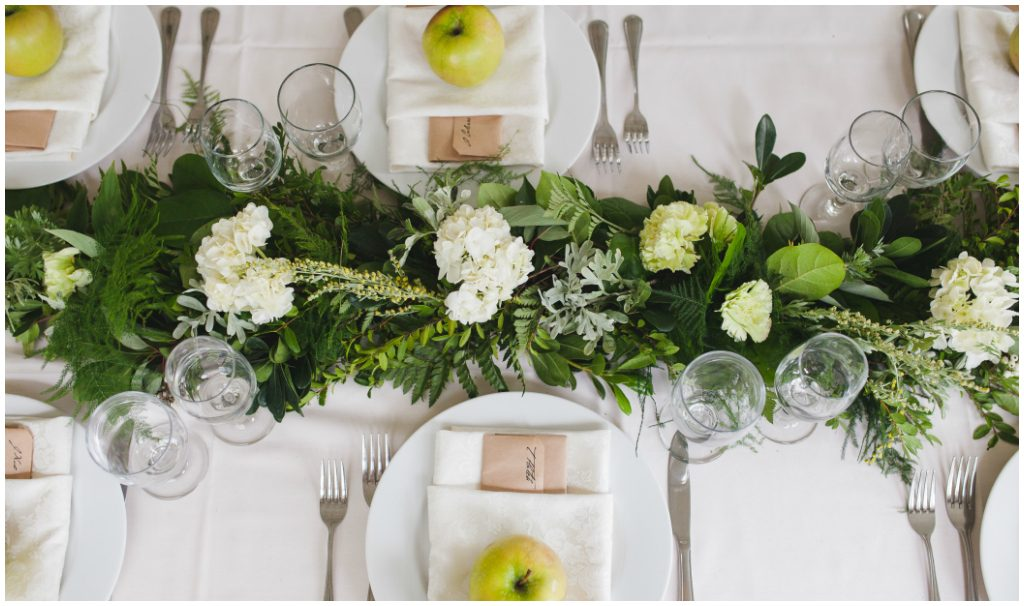 White and Green Summer wedding