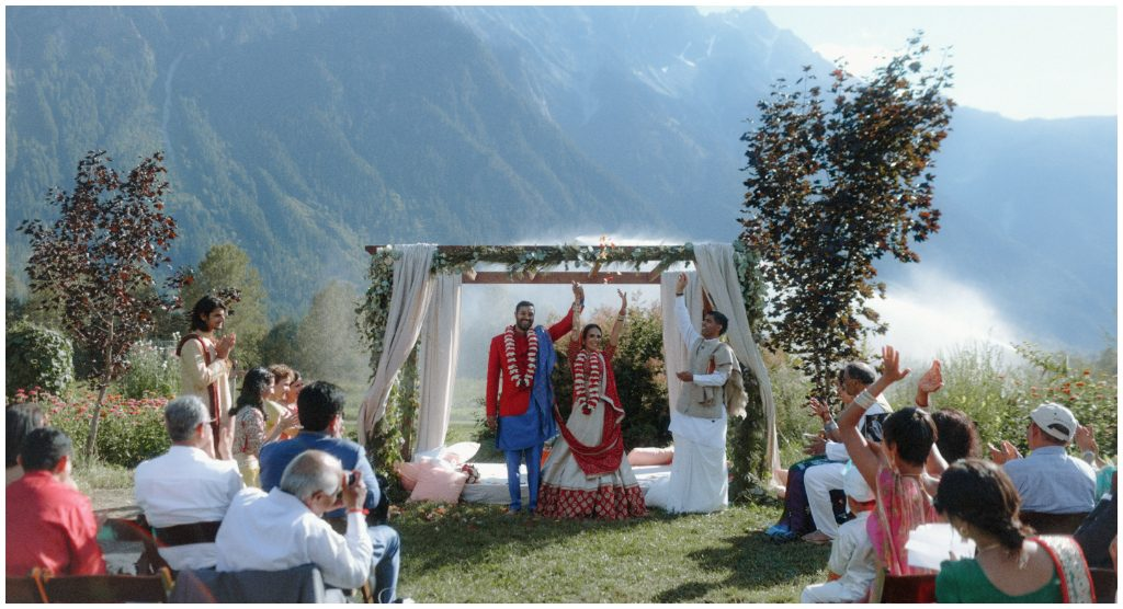 Outdoor mandap wedding ceremony
