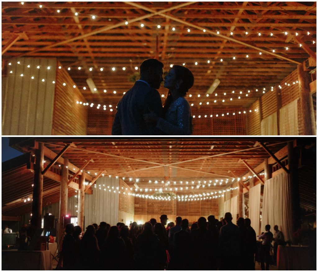 cafe lights barn wedding