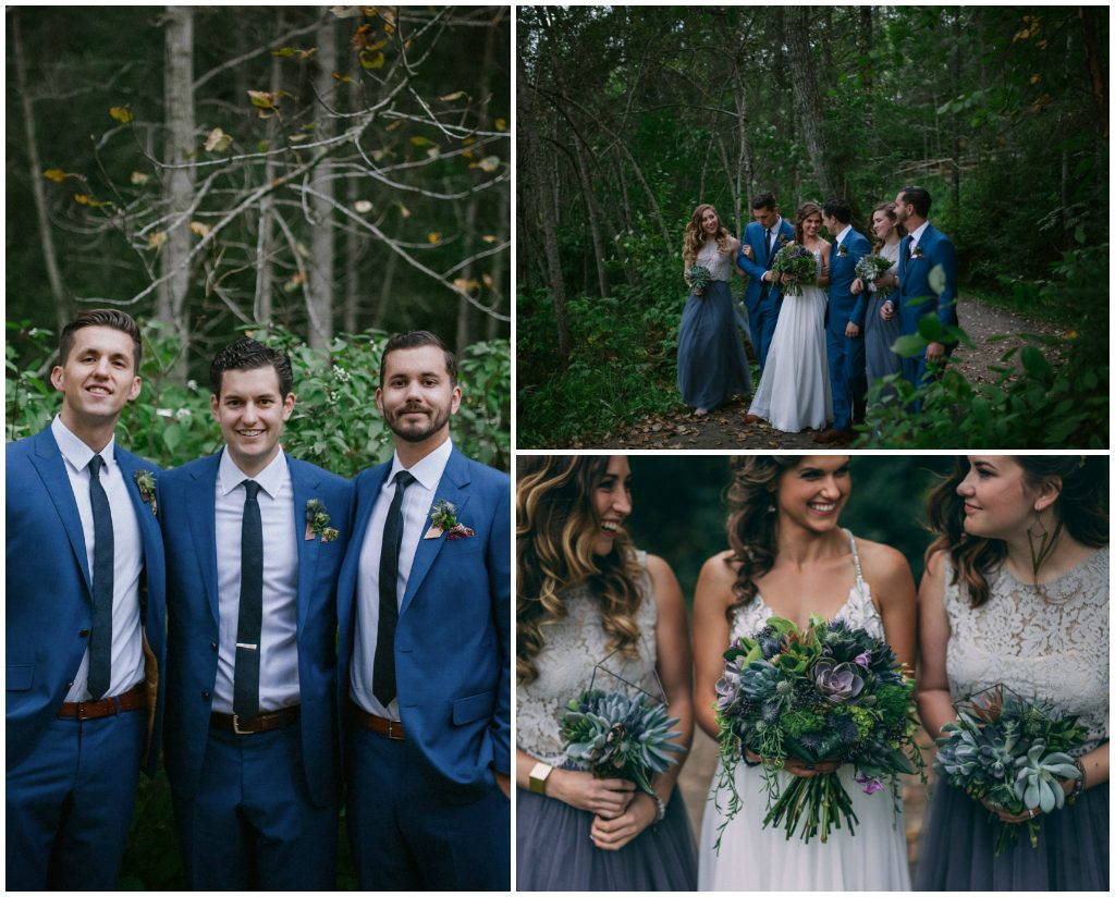 Navy Groomsmen, Grey and Dusty Purple Bridesmaids